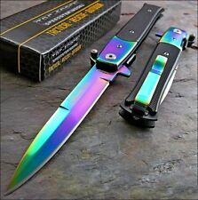 "8.5"" TAC FORCE SPRING ASSISTED TACTICAL RAINBOW STILETTO Pocket Knife Open"