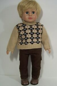 BROWN Cargo Pants Argyle Sweater Doll Clothes For 18 American Girl & Boy (Debs*)