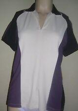 IZOD Cool FX Ladies Size XS Short Sleeve Sport Top White w Purple & Black