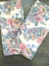 """CROSCILL Pole Top Lined Panels Curtains 84"""" Tan Pink Green FLORAL NWOT"""