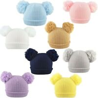Baby Double Pom Pom Hat 2 Bobble Beanie Knitted Winter Warm Boy Girl Newborn-12M