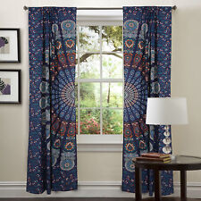 Indian New Peacock Mandala Doors Cotton Hippie Tapestry Decor Window Curtains