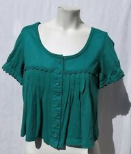 LUX Urban Outfitters Green Cotton Modal Knit Blouse Ric Rac Crop Top size S M