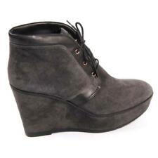 NEW Tod's Wedge Ankle Boot, Grey Suede, Lace up, Women Size 37 (7 US) $889 ITALY