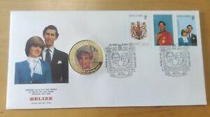 BELIZE 1981 UK Royal Wedding Stamp FDC Inlaid Princess Diana Medallion Coin