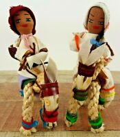 Lot of 2 Vintage Braided Rope Woven Horses & Cloth Native American Figurines