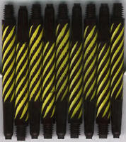 2in 2ba Black-Yellow Spiroline Dart Shafts: 6 per order