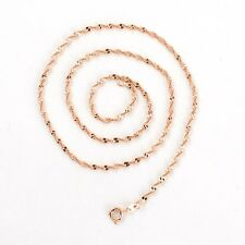 """18k Rose Gold Filled Women Necklace 18"""" Rope Chain 2MM Link GF Jewelry New"""