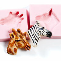 Zebra and Giraffe Mold Set Sculpey Fimo Resin Flexible Silicone Molds   (225)