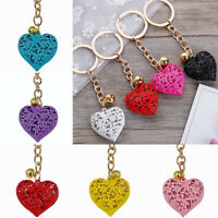 Women Fashion Hollow Out Heart Shape Keyrings Handbag Charm Pendant Key Chains