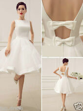 Short White Ivory Satin Wedding Dress Knee Length Bridal Gown Custom Made Size