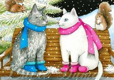 ACEO art print from art painting Cat 443 squirrel winter by L.Dumas