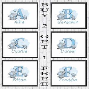 Personalised Name, Large Alphabet Letter Custom Print Design Elephant Boy Poster