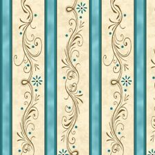 Amazing Grace Fabric Religious Scroll Stripe Blue Cream