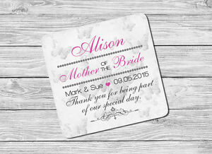 Personalised Mother of the Bride Name & Date Drink Coaster Mat Wedding Day Gift