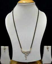 Diamond Mangalsutra Fashion Jewellery Bridal Black Beads Chain Earrings SSC151