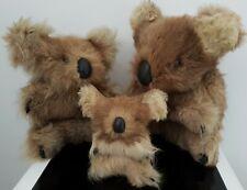 More details for vintage family x 3 koala bears fur & skin hard stuffed body