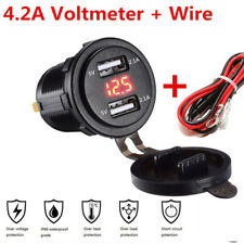 Car Charger 4.2A Quick Charge Dual USB with Voltmeter & Wire In-line 10A Fuse