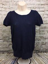 LOFT Ann Taylor Navy Blue Short Sleeve Linen Blend Sweater Size Small NWT