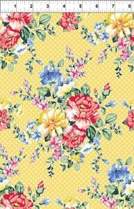 yellow roses flowers 100% cotton floral fabric In The Beginning fabric polka dot