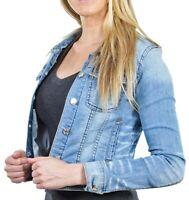 Women's Juniors Premium Stretch Denim Long Sleeve Jacket