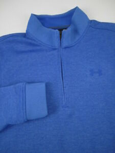 Mens Medium Under Armour SweaterFleece 1/4 zip blue golf pullover