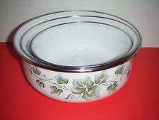 Corelle Corning CALLAWAY Ivy Enamelware / Metal Storage Bowls (Set of 3) *