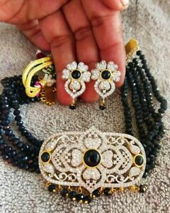 Indian Bollywood Gold Plated Kundan Choker Necklace Earring Wedding Jewelry Sets