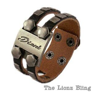 """Urban Punk Genuine Leather """"Diesel"""" Band & Bolt Face Bracelet - Black"""