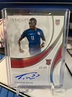 Panini 2018-19 Immaculate Soccer Timothy Weah 33/99 RC Rookie Auto USA Lille PSG