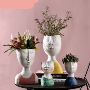 Art Portrait Flower Pot Vase Sculpture Resin Human Face Family Flower Pot