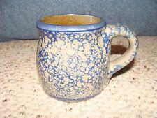 BBP Salt Glaze Mug Blue Spongeware Beaumont Brothers Pottery 1998