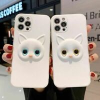 Cartoon 3D Cat Opal Eyes Leather Case Cover For iPhone 12 12Pro 11 Max XR Xs 7 8