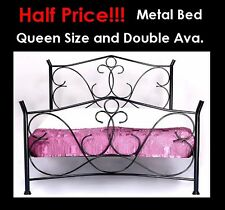 Arthur Double Size Black antique looking Metal Bed Frame with Posture Slats