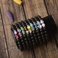 8MM Natural Lava Stone Beads Bracelets Matte Moonstone Men Women Bracelet Gift