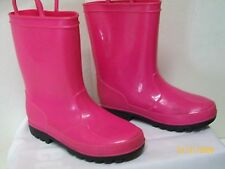 SMART FIT - GIRLS BRIGHT PINK SLIP ON RAIN BOOTS SIZE 13 EUC