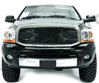 Black Big Horn Grille+Replacement Chrome Shell for 06-09 Dodge RAM 2500+3500