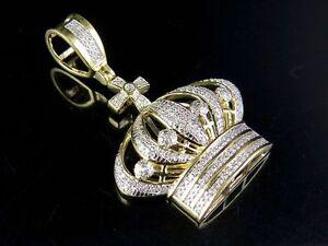 """Men's 10K Yellow Gold Genuine Diamond King Crown Royal Pendant Charm 1/2 Ct 1.6"""""""