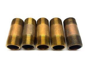 "Pipe Nipple Threaded Brass 1"" x 3"" LOT OF 5"