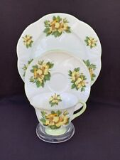 Scarce Shelley FOOTED DAINTY With Yellow HIBISCUS Tea Cup Saucer Plate TRIO