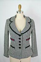 Nanette Lepore Black White Houndstooth Wool Blend Blazer Jacket S Crochet Trim