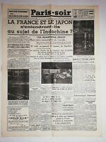 N1144 La Une Du Journal Paris-soir 22 août 1940 la France et le Japon