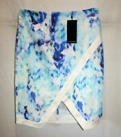 Portmans Brand Blue Printed Fitted Skirt Size 10 BNWT #SK47
