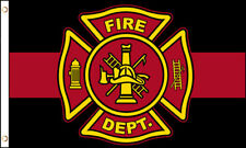 Fire Department (Red Line) 3X5 Polyester Flag