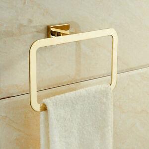 Stainless Steel Square Bathroom Accessory Towel Ring Holder Rack Zirconium Gold