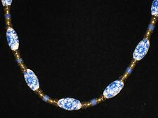 Vintage BOHO Blue Flower On White Porcelain w/ Brass & Clay Bead Necklace