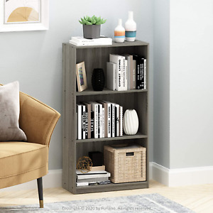 Bookcase Storage Cabinet 3 Tier Shelves French Oak Grey Home Office Furniture