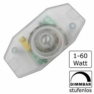 LED Schnurdimmer 60W Dreh-Dimmer 1- 60W Drehdimmer Dimmer Kabeldimmer transparen