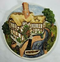 """DAVID WINTER COTTAGES PLATE """"ON THE RIVER BANK""""  Collectors Plaque RETIRED 1993*"""