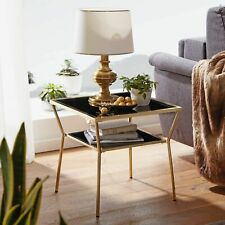 WOHNLING Couchtisch Glas Schwarz Wohnzimmertisch Gold Beistelltisch 50x50 NEU